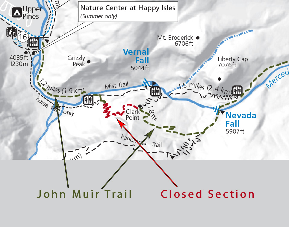 John Muir Trail Closure Map