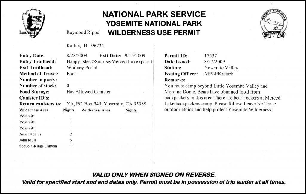 Wilderness Permit