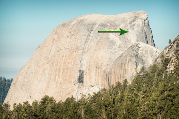 The back of Half Dome, a little after 8 a.m. in late August. No one is on the cables (although you can see one person at the top).